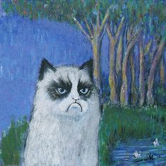Grumpy cat is still not Impressed with Impressionism