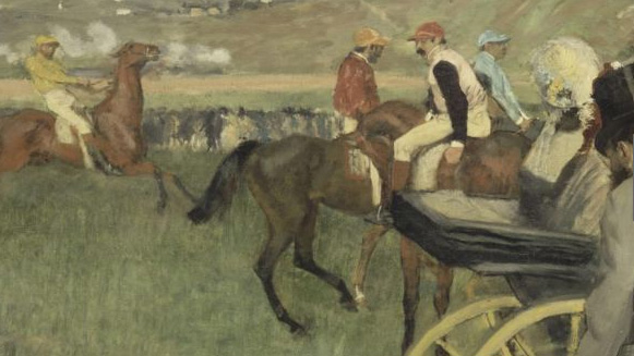 Detail from 'The Race Track; Amateur Jockeys Near a Carriage'. Musée d'Orsay.