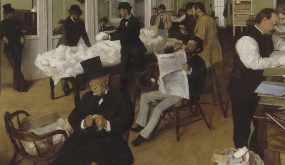 Detail from 'Cotton Market in New Orleans'. Musée des Beaux-Arts, Pau