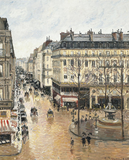 "The painting ""Rue Saint-Honoré, Après-midi, Effet de Pluie,"" by Pissarro, is to stay at a museum in Madrid. Credit Museo Thyssen-Bornemisza, Madrid"
