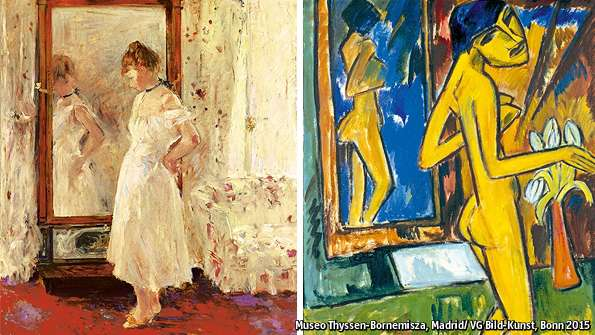 "Berthe Morisot's ""The Cheval Glass"" (1876) and Karl Schmidt-Rottluff's ""Girl Before a Mirror"" (1915)"