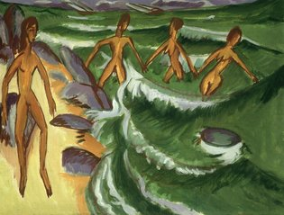 Ernst Ludwig Kirchner's ''Bathers at the Shore'' from 1913. Credit bpk/Staatliche Museen zu Berlin, Nationalgalerie/Jörg P. Anders
