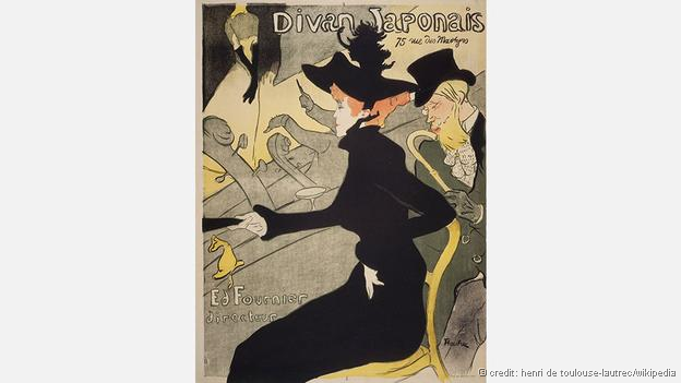 Toulouse-Lautrec embraced both Japanese art and printmaking, as in his poster for the nightclub Le Divan Japonais (Credit: Henri de Toulouse-Lautrec/Wikipedia)