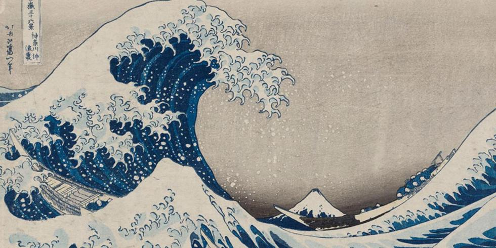 Under the Wave off Kanagawa (Kanagawa-oki nami-ura), also known as the Great Wave, from the series Thirty-six Views of Mount Fuji (Fugaku sanjûrokkei) Katsushika Hokusai (Japanese, 1760–1849) about 1830–31 (Tenpô 1–2) Woodblock print (nishiki-e); ink and color on paper * William Sturgis Bigelow Collection * Photograph © Museum of Fine Arts, Boston