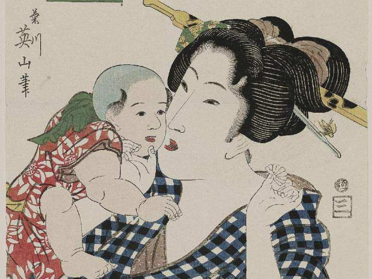 Kikukawa Eizan's Otome, from the series Eastern Figures Matched with the Tale of Genji (about 1818–23) at the Exhibition: Looking East: Western Artists and the Allure of Japan. GREG HEINS / MUSEUM OF FINE ARTS, BOSTON