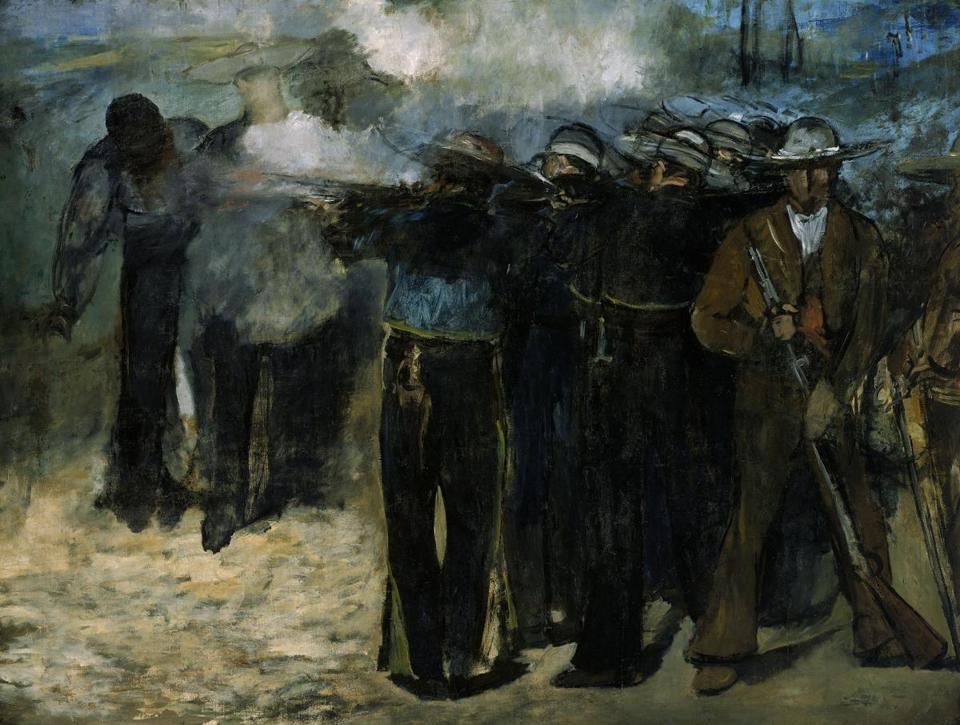 EXECUTION OF THE EMPEROR MAXIMILIAN By Edouard Manet. At Museum of Fine Arts