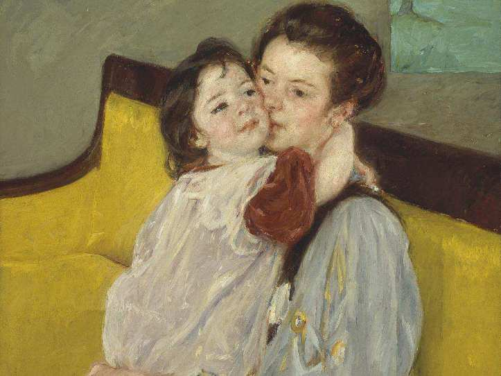 Mary Stevenson Cassatt's Caresse Maternelle (about 1902) reflects a similar intimate scene by Kikukawa Eizan that hangs nearby.