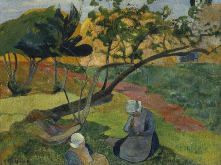 Paul Gauguin's Landscape with Two Breton Women is an example of how Impressionists embraced the Japanese style of decorative motifs and flat, contrasting colours. MUSEUM OF FINE ARTS, BOSTON
