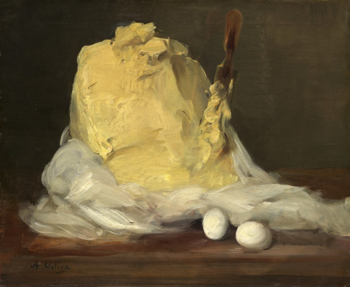 "Antoine Vollon, ""Mound of Butter,"" oil on canvas, packs a lot of emotion into a humble kitchen scene. (Image courtesy National Gallery of Art)"