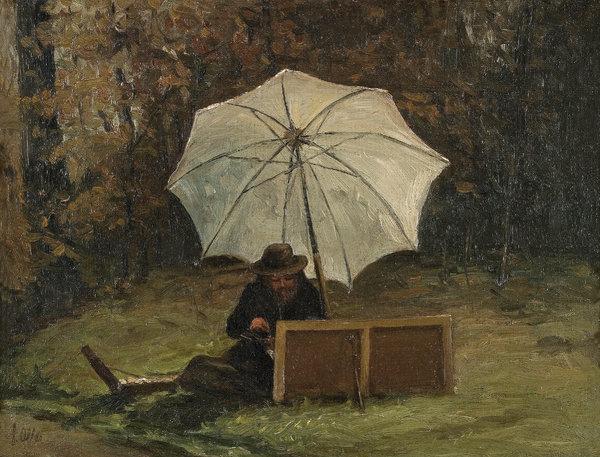 """""""Paul Cézanne Painting Out of Doors"""" (circa 1864). Credit Collection of Dr. Luis R. de Corral and Dr. Lorraine Vázquez, Puerto Rico"""