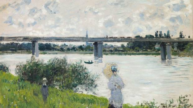 Claude Monet's The Promenade with the Railroad Bridge, Argenteuil.