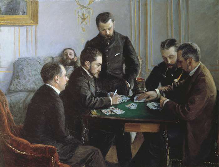 Gustave Caillebotte, A Game of Bezique, 1881, oil on canvas, 47⅝ x 63⅜ inches. LOUVRE ABU DHABI