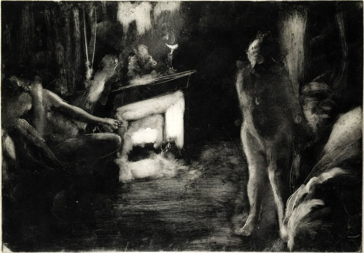 """The Fireside"" (1880-85) by Edgar Degas, a monotype on paper from the exhibition ""A Strange New Beauty."" Credit The Elisha Whittelsey Collection, Metropolitan Museum of Art"