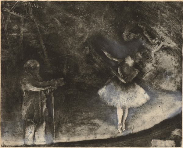 """The Ballet Master"" (1876) by Edgar Degas. Ludovic-Napoléon Lepic helped execute the work, a white chalk or opaque watercolor over monotype on paper. Credit Rosenwald Collection, National Gallery of Art, Washington, D.C."