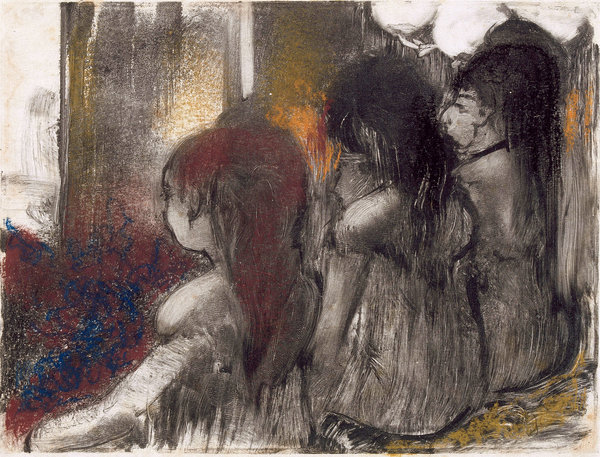 """Three Women in a Brothel, Seen From Behind"" (1877-79) by Edgar Degas, pastel over monotype on paper. Credit Musée Picasso, Paris"