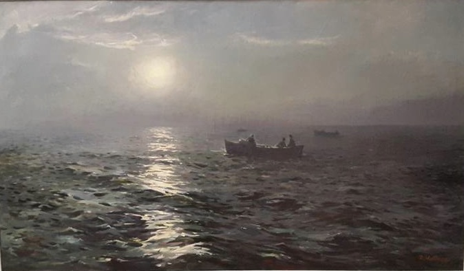 "Richard Uutmaa, ""On a Nocturnal Sea"" (1956), oil on canvas (photo by the author for Hyperallergic)"